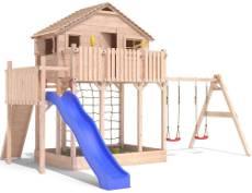 Spielhaus und Kletterturm zusammen